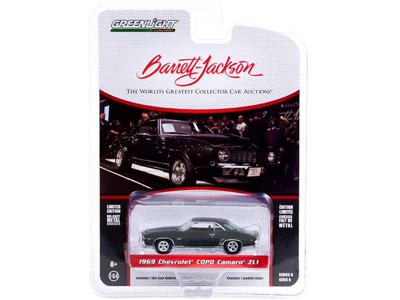 1969 Chevrolet COPO Camaro ZL1 Fathom Green Lot #1402 Barrett Jackson Scottsdale Edition Series 6 1/64 Diecast Model Car Greenlight 37220 B