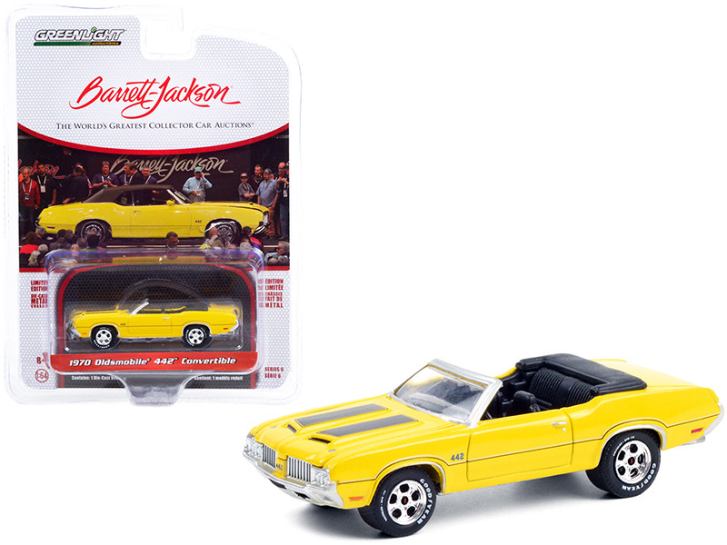 1970 Oldsmobile 442 Convertible Sebring Yellow Black Stripes Lot #743 Barrett Jackson Scottsdale Edition Series 6 1/64 Diecast Model Car Greenlight 37220 C