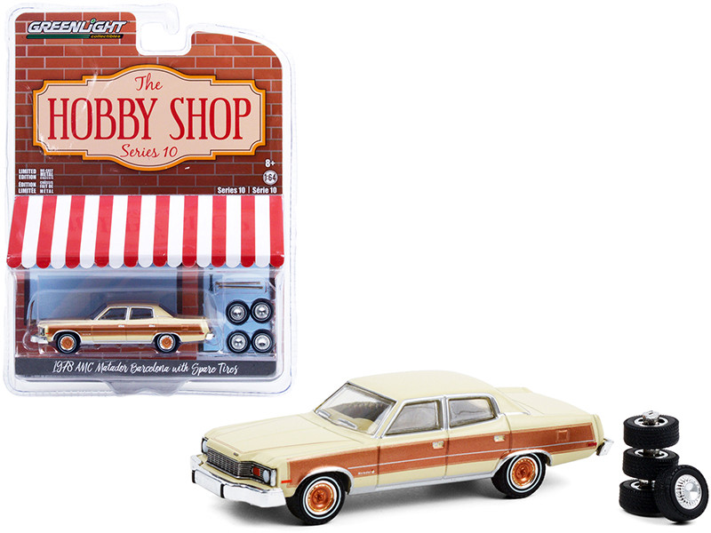 1978 AMC Matador Barcelona Sand Tan Golden Ginger Spare Tires The Hobby Shop Series 10 1/64 Diecast Model Car Greenlight 97100 C