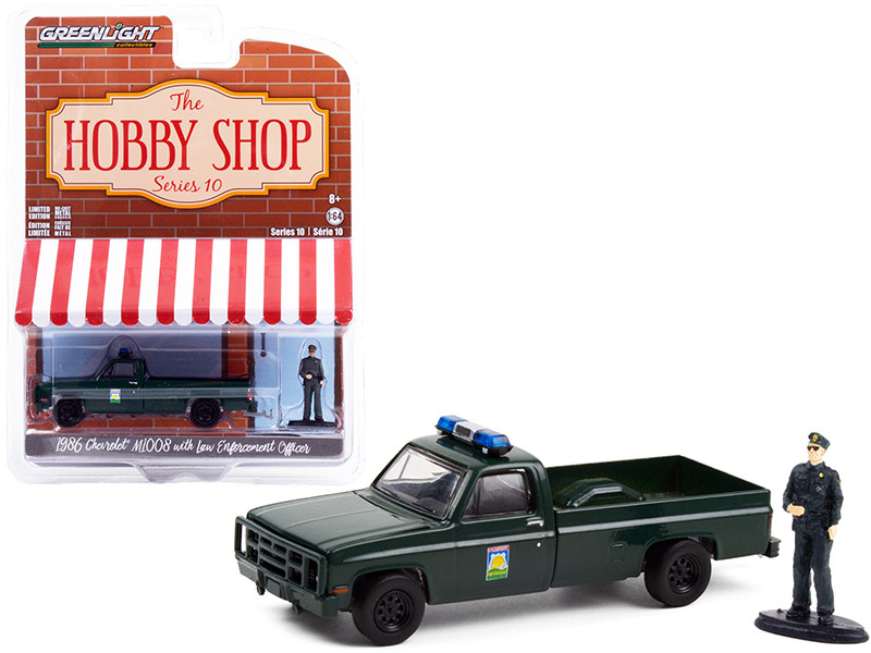 1986 Chevrolet M1008 Pickup Truck Dark Green Florida Office Agricultural Law Enforcement Enforcement Officer Figurine The Hobby Shop Series 10 1/64 Diecast Model Car Greenlight 97100 D
