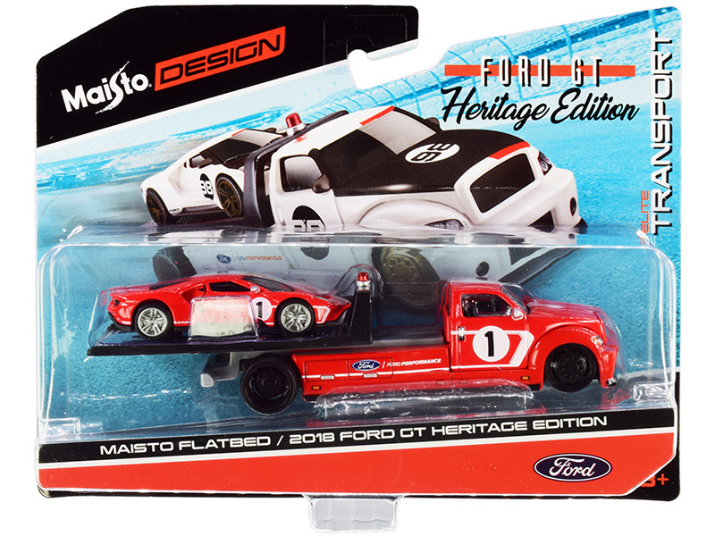 2018 Ford GT #1 Heritage Edition Flatbed Truck Red White Stripes Elite Transport Series 1/64 Diecast Model Cars Maisto 15108-21 C