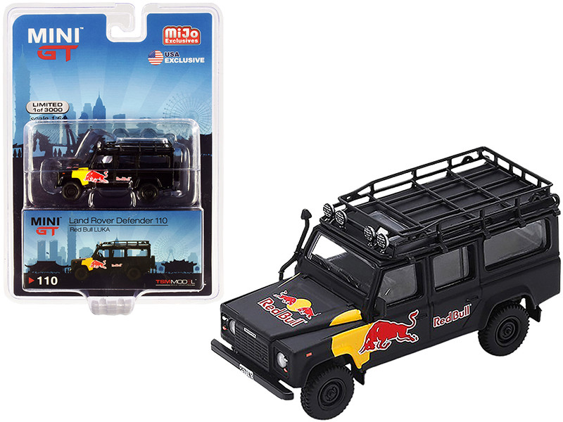 Land Rover Defender 110 Red Bull LUKA Black Limited Edition 3000 pieces Worldwide 1/64 Diecast Model Car True Scale Miniatures MGT000110