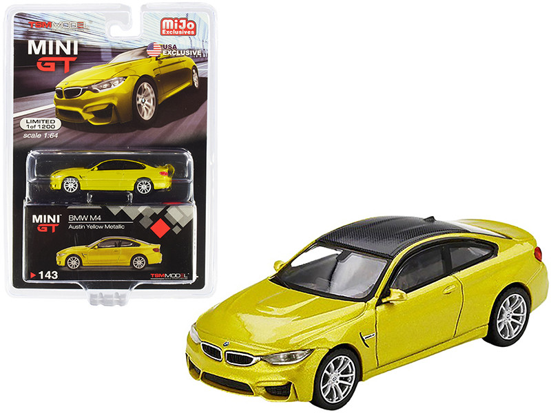 BMW M4 F82 Austin Yellow Metallic Carbon Top Limited Edition 1200 pieces Worldwide 1/64 Diecast Model Car True Scale Miniatures MGT00143