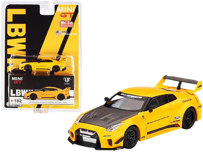 Nissan 35GT-RR Ver.1 LB-Silhouette WORKS GT RHD Right Hand Drive Yellow Carbon Hood 1/64 Diecast Model Car True Scale Miniatures MGT00182