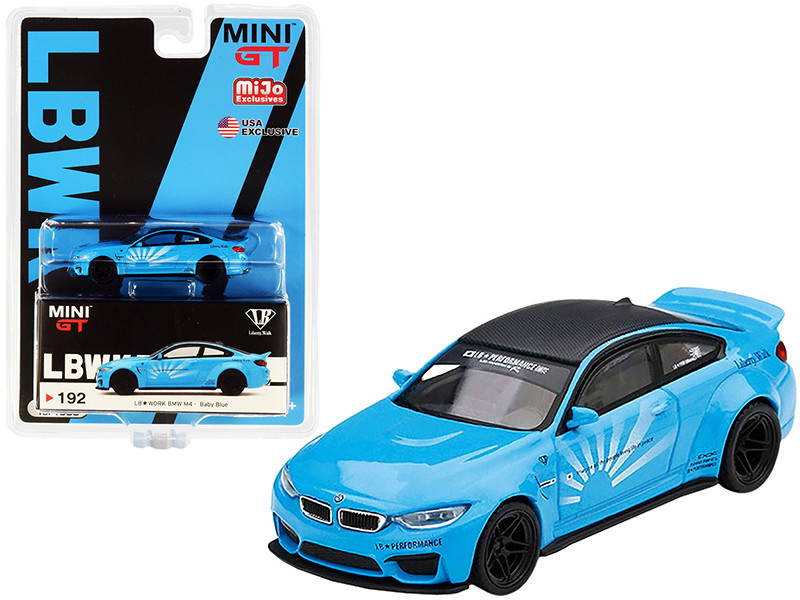 BMW M4 LB Works Baby Blue Carbon Top Limited Edition 1/64 Diecast Model Car True Scale Miniatures MGT00192