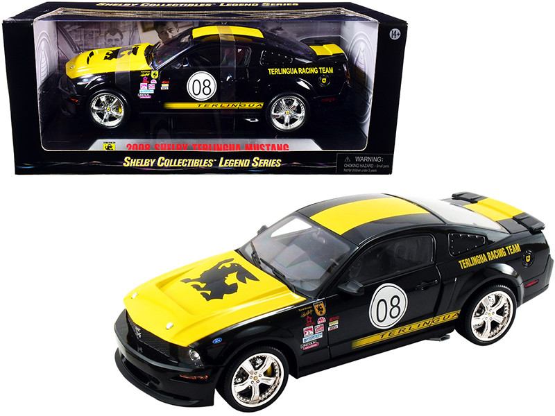 2008 Ford Shelby Mustang #08 Terlingua Black Yellow Shelby Collectibles Legend Series 1/18 Diecast Model Car Shelby Collectibles SC296