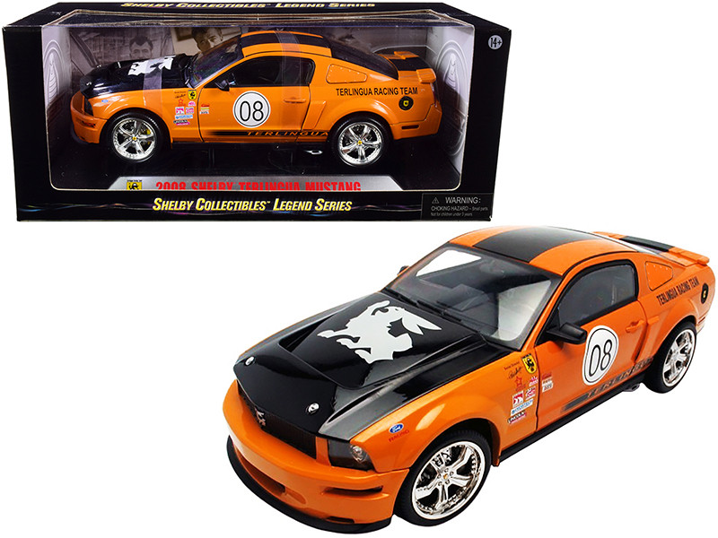 2008 Ford Shelby Mustang #08 Terlingua Orange Black Shelby Collectibles Legend Series 1/18 Diecast Model Car Shelby Collectibles SC297