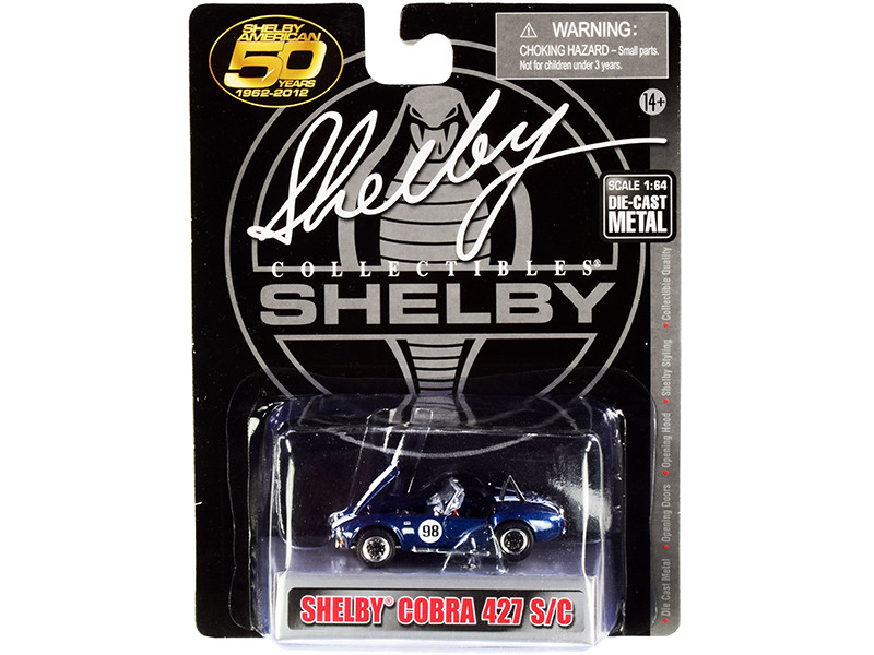 1965 Shelby Cobra 427 S/C #98 Blue Metallic White Stripes Shelby American 50 Years 1962 2012 1/64 Diecast Model Car Shelby Collectibles SC705