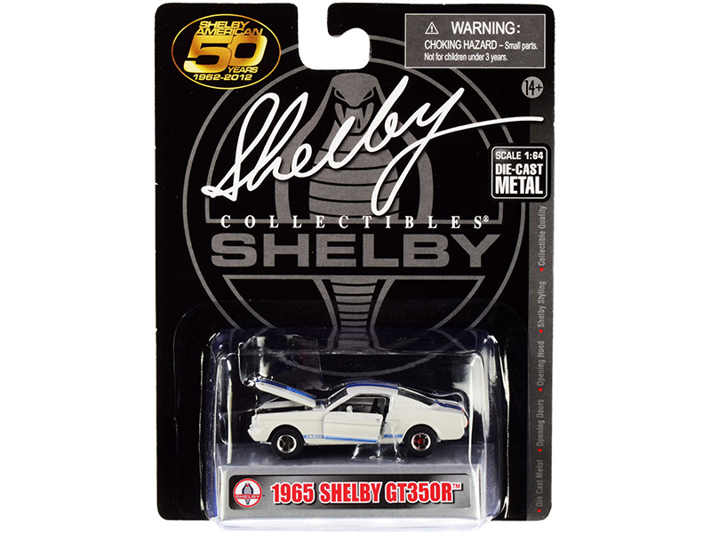 1965 Ford Mustang Shelby GT350R White Blue Stripes Shelby American 50 Years 1962 2012 1/64 Diecast Model Car Shelby Collectibles SC717