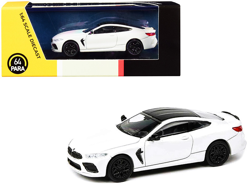 BMW M8 Coupe Alpine White Black Top 1/64 Diecast Model Car Paragon PA-55214