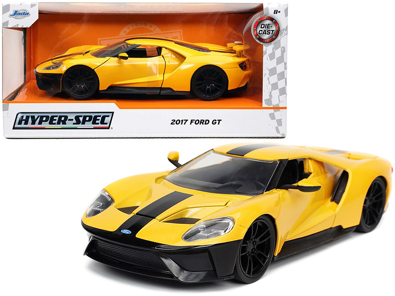 2017 Ford GT Yellow Black Stripe Hyper-Spec Series 1/24 Diecast Model Car Jada 32257