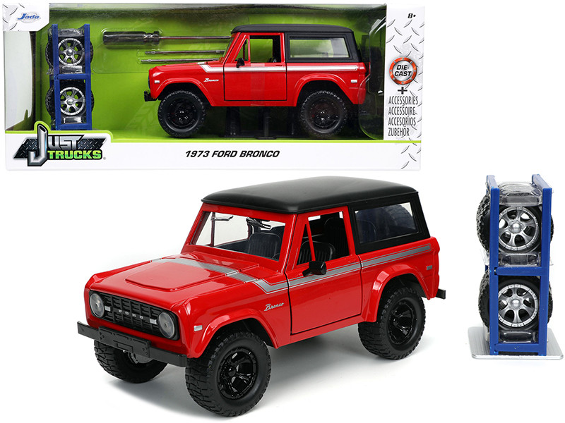 1973 Ford Bronco Red Black Top Silver Stripe Extra Wheels Just Trucks Series 1/24 Diecast Model Car Jada 32425
