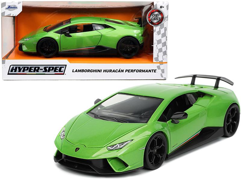 Lamborghini Huracan Perfomante Green Metallic Stripes Hyper-Spec Series 1/24 Diecast Model Car Jada 32715