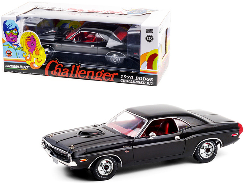 1970 Dodge Challenger R/T 440 Six Pack Black Red Interior Deluxe Wheel Covers 1/18 Diecast Model Car Greenlight 13585