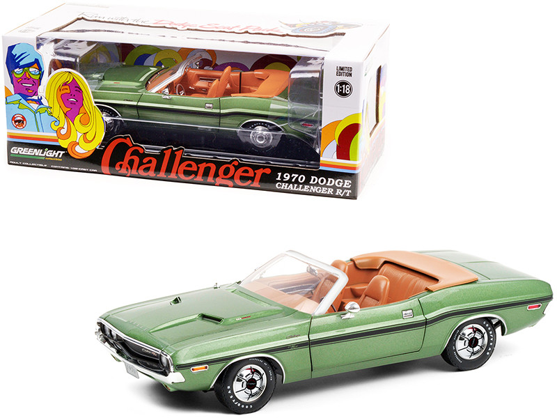 1970 Dodge Challenger R/T Convertible F8 Green Metallic Black Stripes Deluxe Wheel Covers 1/18 Diecast Model Car Greenlight 13586