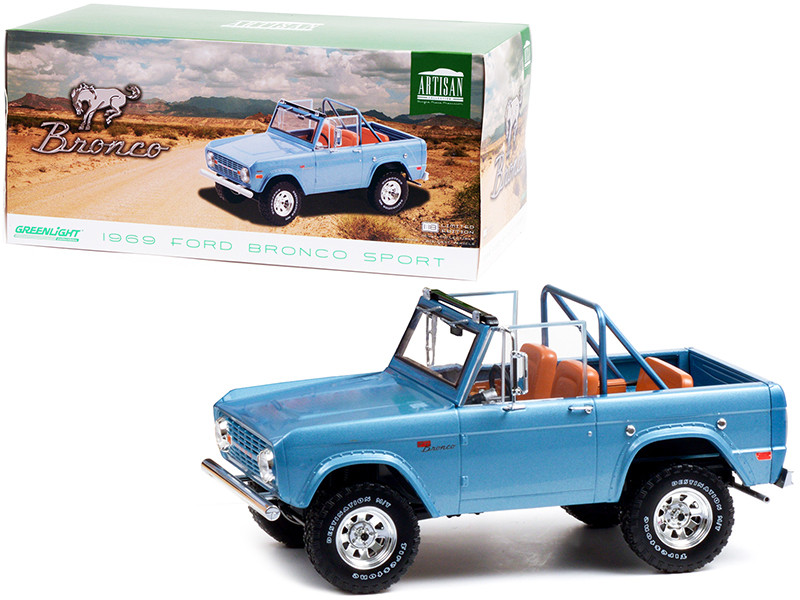 1969 Ford Bronco Sport Brittany Blue Sunraysia Wheels 1/18 Diecast Model Car Greenlight 19099