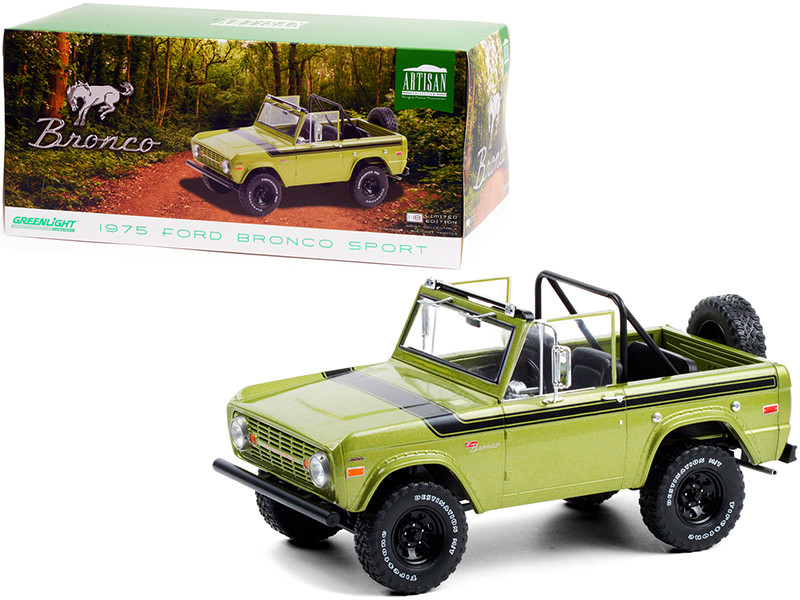 1975 Ford Bronco Sport Medium Green Glow Black Stripes Sunraysia Wheels 1/18 Diecast Model Car Greenlight 19100