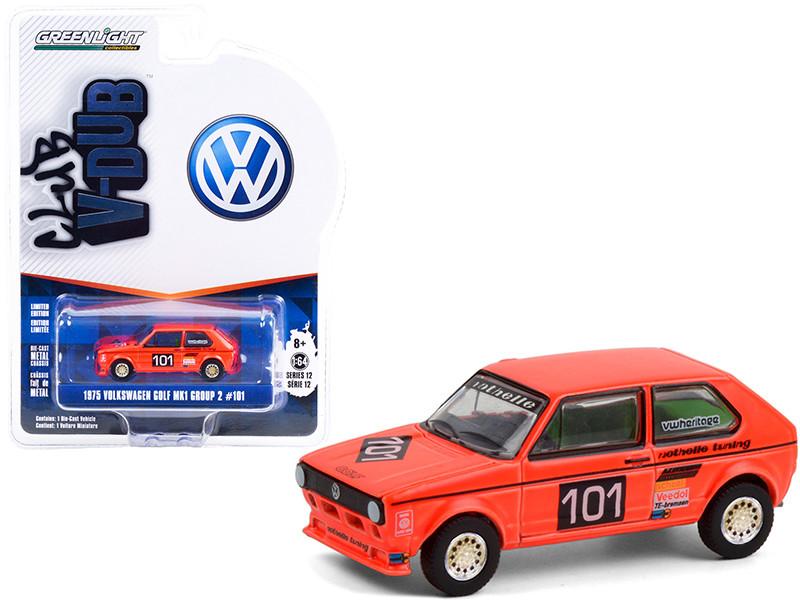 1975 Volkswagen Golf Mk1 Group 2 #101 Winner Hockenheimring German Grand Prix 1975 Club Vee V-Dub Series 12 1/64 Diecast Model Car Greenlight 36020 C