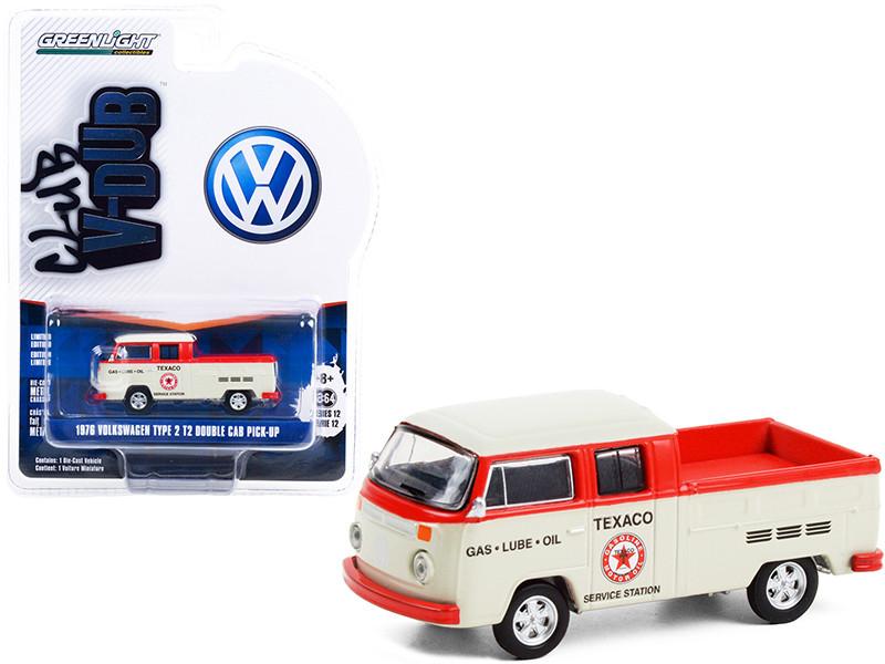 1976 Volkswagen T2 Type 2 Double Cab Pickup Truck Texaco Service Cream Red Club Vee V-Dub Series 12 1/64 Diecast Model Car Greenlight 36020 D