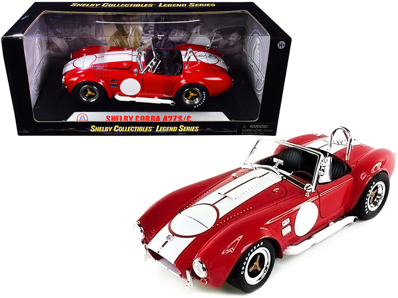 1965 Shelby Cobra 427 S/C Red White Stripes Printed Carroll Shelby's Signature Trunk 1/18 Diecast Model Car Shelby Collectibles SC122-1