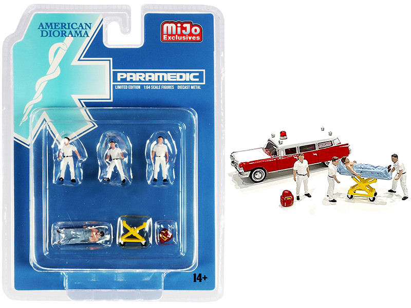 Paramedic 6 piece Diecast Set 4 Figurines 2 Accessories 1/64 Scale Models American Diorama 76467