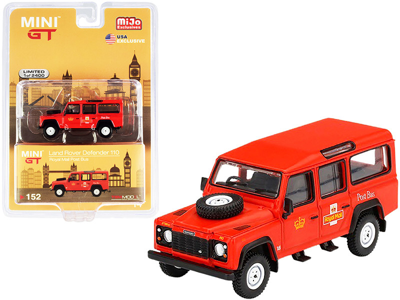 Land Rover Defender 110 RHD Right Hand Drive Royal Mail Post Bus Orange Limited Edition 2400 pieces Worldwide 1/64 Diecast Model Car True Scale Miniatures MGT00152