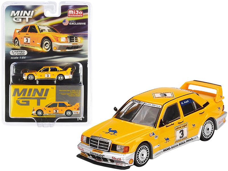 Mercedes Benz 190E 2.5-16 Evolution II #3 Roland Asch Camel Yellow Page 200 Invitational Kyalami South Africa 1990 Limited Edition 2400 pieces Worldwide 1/64 Diecast Model Car True Scale Miniatures MGT00187