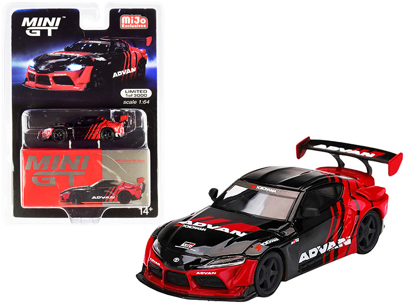Toyota GR Supra RHD Right Hand Drive HKS Advan Black Red Limited Edition 3000 pieces Worldwide 1/64 Diecast Model Car True Scale Miniatures MGT00206
