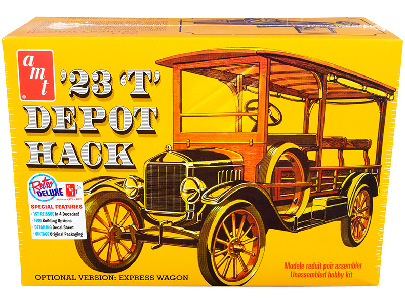 Skill 2 Model Kit 1923 Ford T Depot Hack 2-in-1 Kit 1/25 Scale Model AMT AMT1237