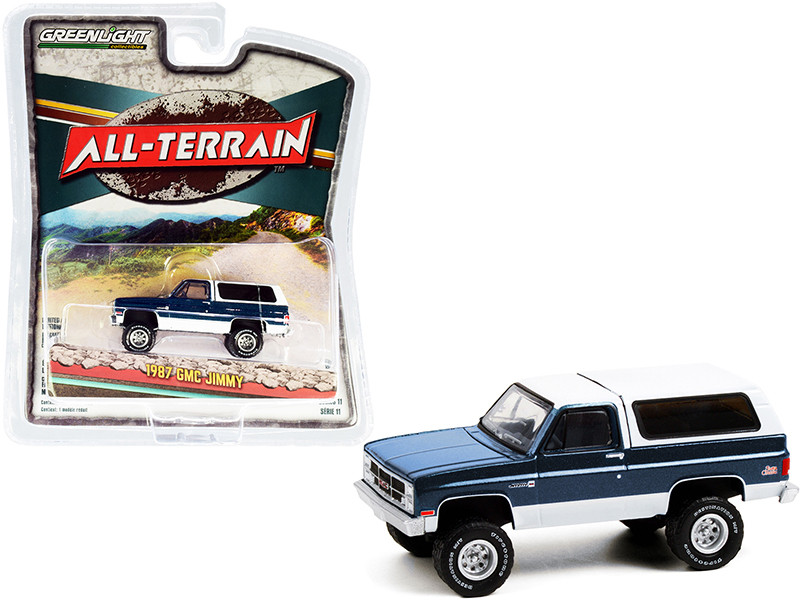 1987 GMC Jimmy Sierra Classic Lifted Dark Blue Metallic White All Terrain Series 11 1/64 Diecast Model Car Greenlight 35190 C