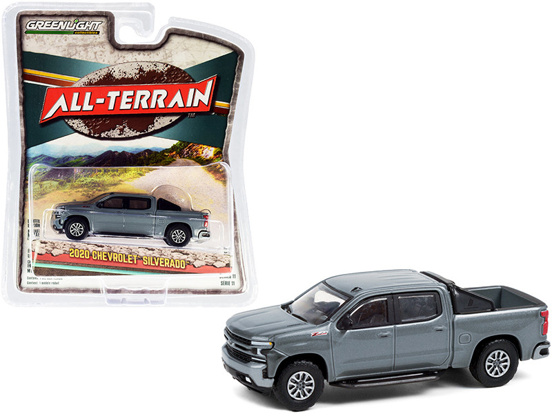 2020 Chevrolet Silverado Z71 Pickup Truck Off-Road Parts Satin Steel Gray Metallic All Terrain Series 11 1/64 Diecast Model Car Greenlight 35190 F