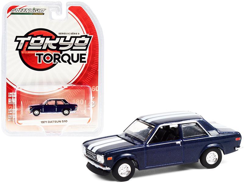 1971 Datsun 510 Custom Rich Blue Metallic White Stripes Tokyo Torque Series 9 1/64 Diecast Model Car Greenlight 47070 C