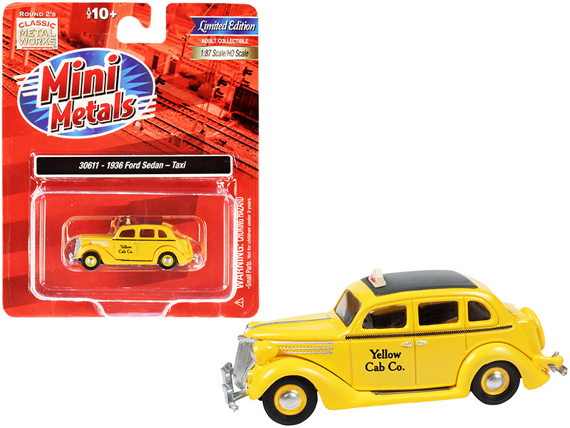 1936 Ford Sedan Taxi Yellow Cab Co Yellow Black Top 1/87 HO Scale Model Car  Classic Metal Works 30611