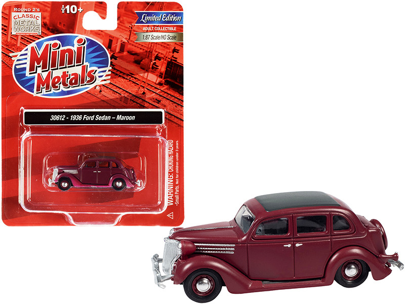 1936 Ford Sedan Maroon Black Top 1/87 HO Scale Model Car Classic Metal Works 30612
