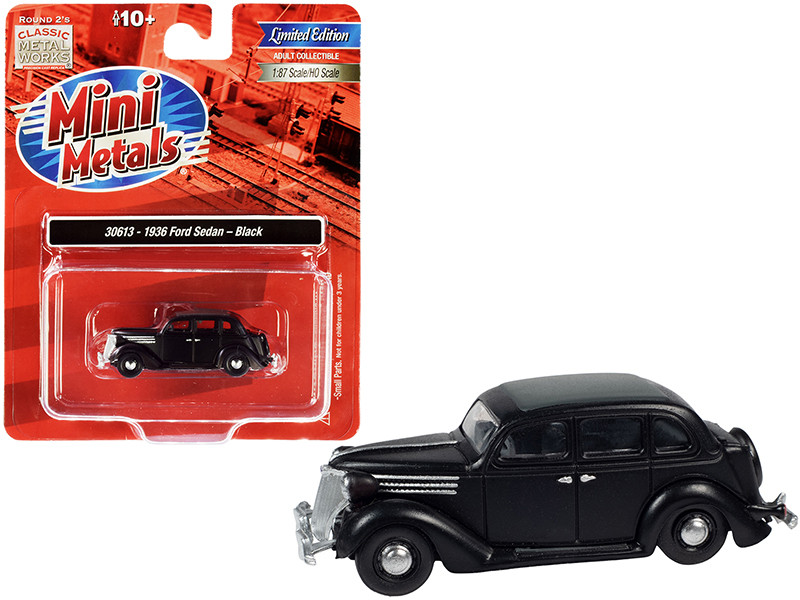 1936 Ford Sedan Black Gray Top 1/87 HO Scale Model Car Classic Metal Works 30613