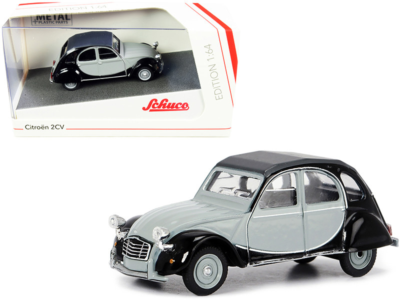 Citroen 2CV Charleston Gray Black 1/64 Diecast Model Car Schuco 452021700