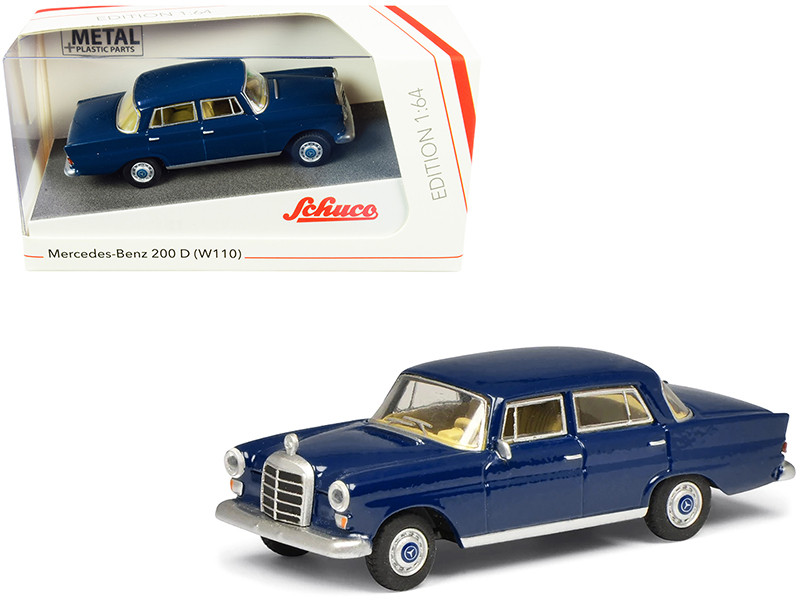 Mercedes Benz 200 D W110 Heckflosse Fintail Dark Blue 1/64 Diecast Model Car Schuco 452022200