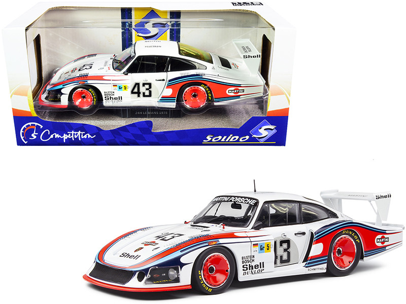 Porsche 935 RHD Right Hand Drive Moby Dick #43 Manfred Schurti Rolf Stommelen Martini Racing Porsche System 24H Le Mans 1978 Competition Series 1/18 Diecast Model Car Solido S1805401
