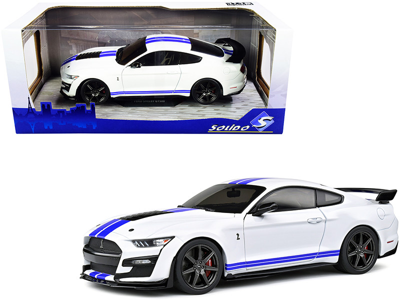 2020 Ford Mustang Shelby GT500 White Blue Stripes 1/18 Diecast Model Car Solido S1805904