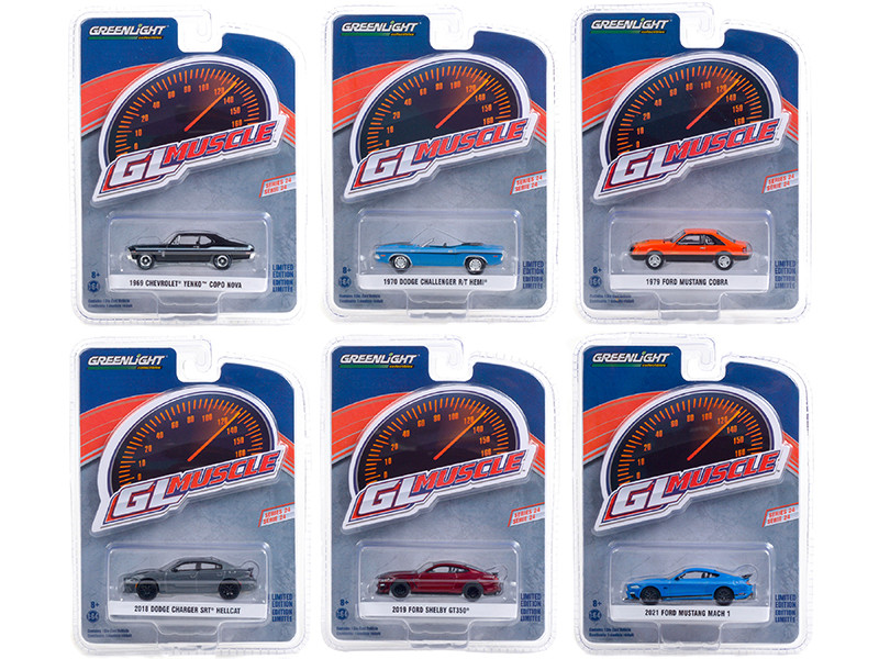 Greenlight Muscle Set of 6 Cars Series 24 1/64 Diecast Model Cars Greenlight 13290