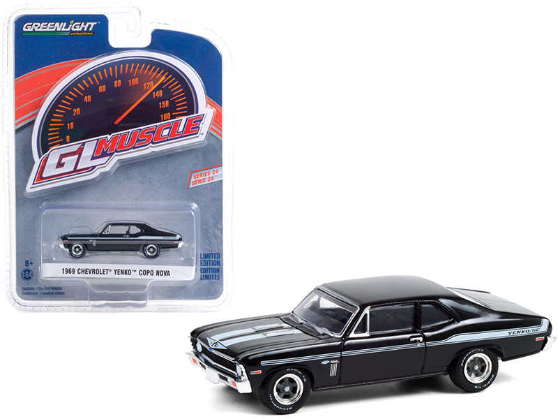 1969 Chevrolet Yenko/SC COPO Nova Tuxedo Black Light Blue Stripes Greenlight Muscle Series 24 1/64 Diecast Model Car Greenlight 13290 A