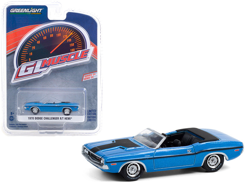1970 Dodge Challenger R/T HEMI Convertible B5 Blue Black Stripes Greenlight Muscle Series 24 1/64 Diecast Model Car Greenlight 13290 B