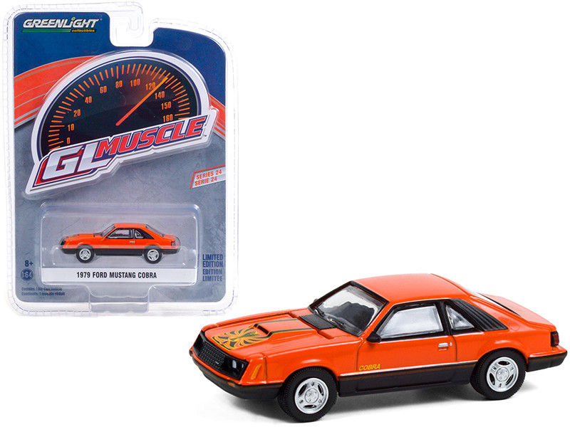1979 Ford Mustang Cobra Tangerine Orange Black Graphics Greenlight Muscle Series 24 1/64 Diecast Model Car Greenlight 13290 C