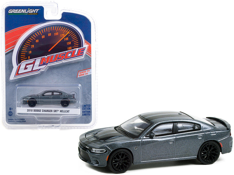 2018 Dodge Charger SRT Hellcat Granite Crystal Gray Metallic Black Stripes Greenlight Muscle Series 24 1/64 Diecast Model Car Greenlight 13290 D