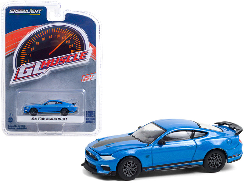 2021 Ford Mustang Mach 1 Velocity Blue Metallic Black Stripes Greenlight Muscle Series 24 1/64 Diecast Model Car Greenlight 13290 F
