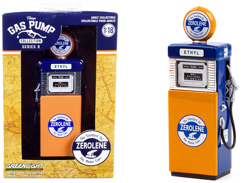 1951 Wayne 505 Gas Pump Zerolene The Standard Oil for Motor Cars Orange Blue Vintage Gas Pumps Series 9 1/18 Diecast Model Greenlight 14090 B