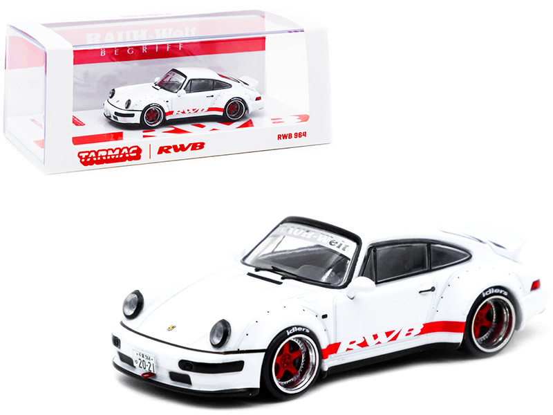 Porsche RWB 964 White Red Stripes Special Edition RAUH-Welt BEGRIFF 1/64 Diecast Model Car Tarmac Works T64-037-WHT