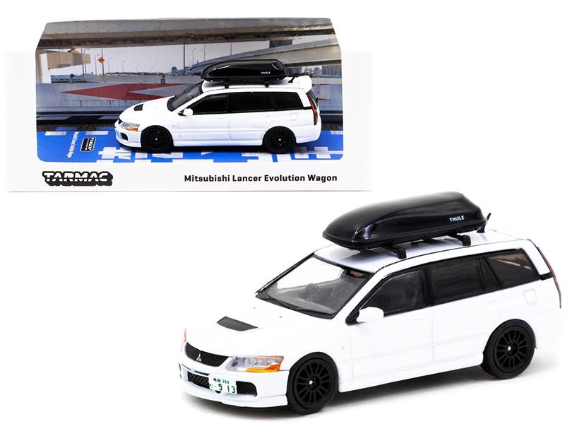 Mitsubishi Lancer Evolution Wagon RHD Right Hand Drive Roof Box White 1/64 Diecast Model Car Tarmac Works T64R-042-WH