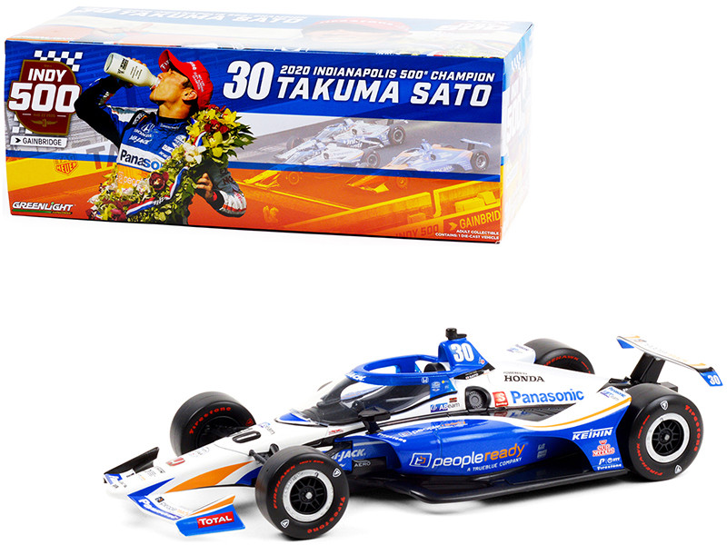 Dallara IndyCar #30 Takuma Sato PeopleReady Rahal Letterman Lanigan Racing Indianapolis 500 Champion 2020 NTT IndyCar Series 1/18 Diecast Model Car Greenlight 11101