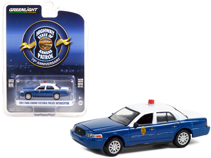 2011 Ford Crown Victoria Police Interceptor Dark Blue White Kansas Highway Patrol 75th Anniversary Unit 1937 2012 Anniversary Collection Series 12 1/64 Diecast Model Car Greenlight 28060 D